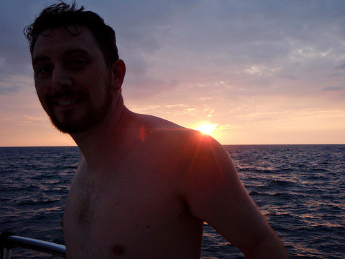 Alan on a boat